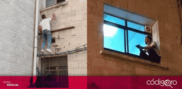 Un joven de Palestina subió todas las noches a la ventana del hospital donde estaba internada su madre, quien dio positivo a COVID-19, para acompañarla en sus últimos momentos de vida