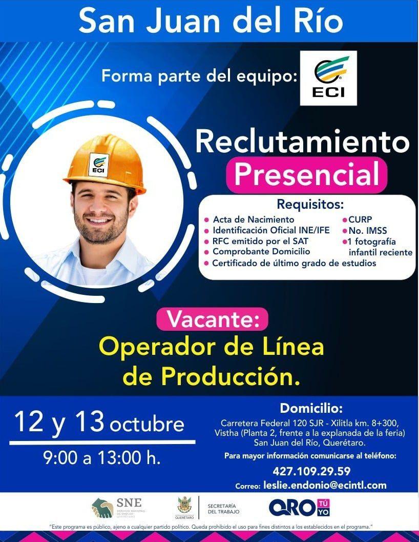Anuncian reclutamiento para contratación de personal operativo en San Juan del Río