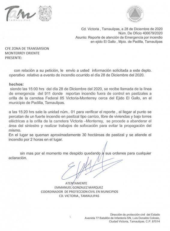 CFE presentó un documento falso sobre incendio que causó apagón: PC Tamaulipas