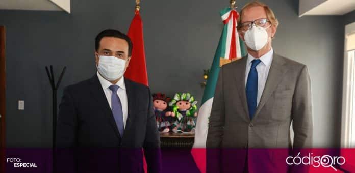 El presidente municipal de Querétaro, Luis Bernardo Nava Guerrero, se reunió con el embajador de los Países Bajos en México. Foto: Especial