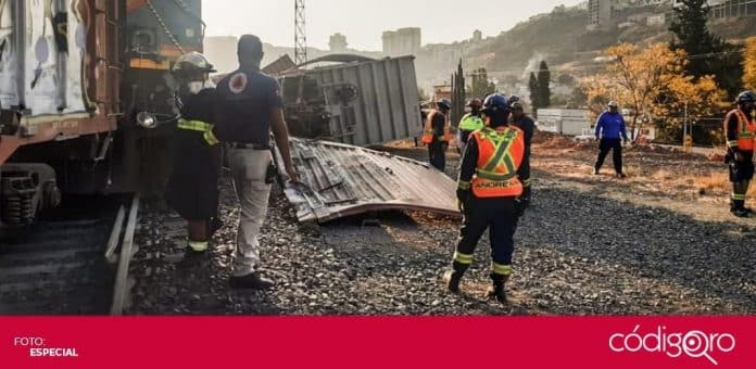 Protección Civil atendió el reporte de descarrilamiento de vagones del tren en la colonia Hércules. Foto: Especial
