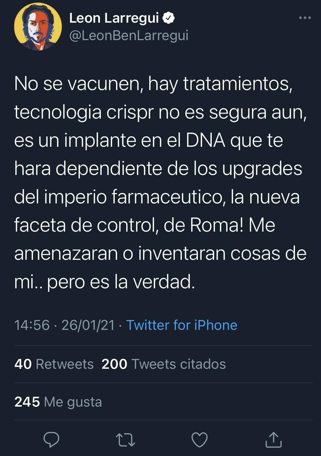 León Larregui publicó en Twitter información falsa sobre las vacunas contra COVID-19. Foto: Especial