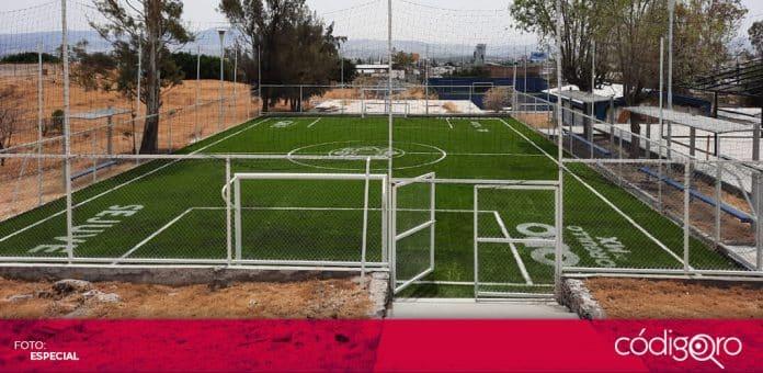El Gobierno del Estado de Querétaro rehabilitó espacios deportivos en la Escuela de Bachilleres de la UAQ. Foto: Especial