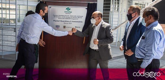 El gobernador de Querétaro, Francisco Domínguez Servién, entregó la primera etapa de las instalaciones del Conalep Plantel II. Foto: Especial