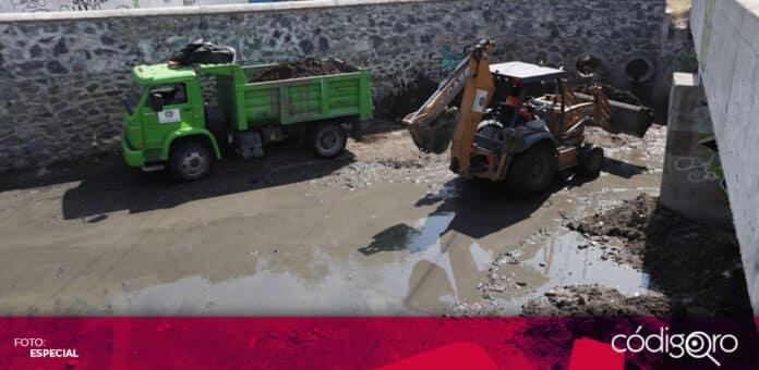 La Secretaría de Servicios Públicos Municipales de Querétaro comenzó las acciones preventivas ante la próxima temporada de lluvias. Foto: Especial