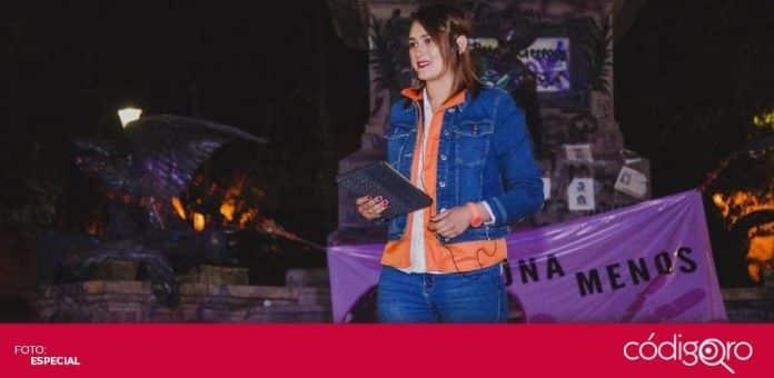 Beatriz León Sotelo, candidata de Movimiento Ciudadano a la gubernatura de Querétaro, comenzó su campaña electoral frente al Monumento a La Corregidora. Foto: Especial