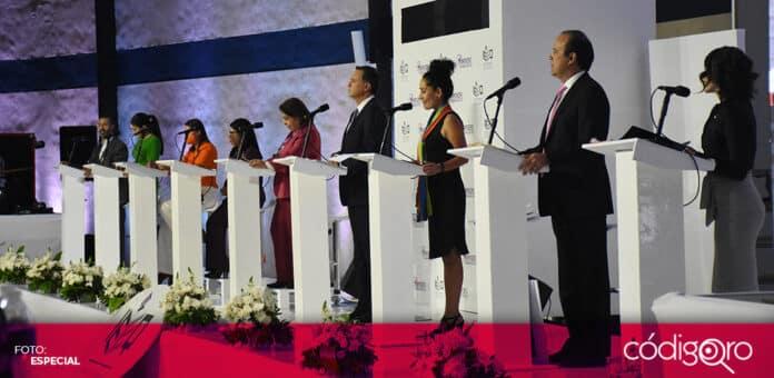 Las y los 10 candidatos a la gubernatura del estado de Querétaro sostuvieron el primer debate. Foto: Especial