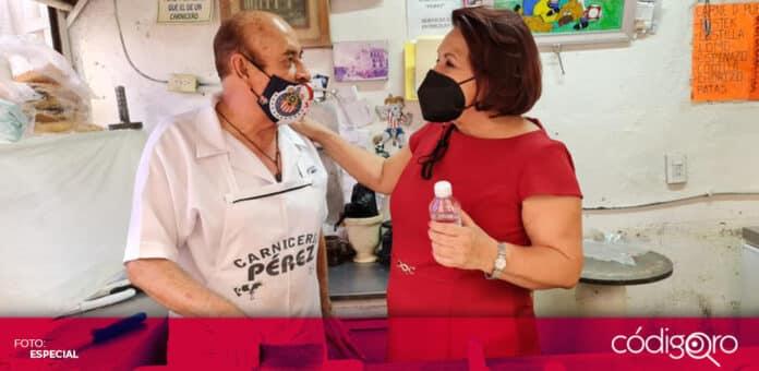 La candidata de Morena a la gubernatura de Querétaro, Celia Maya, prometió apoyos para los comerciantes. Foto: Especial