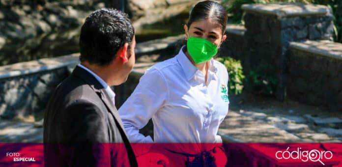 Katia Reséndiz, candidata del PVEM a la gubernatura de Querétaro, se reunió con representantes de la FEUQ. Foto: Especial