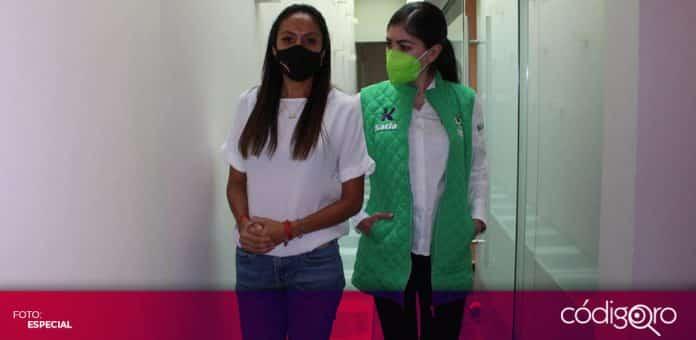 La candidata del Partido Verde, Katia Reséndiz, visitó la Fundación Chabely en el municipio de San Juan del Río. Foto: Especial