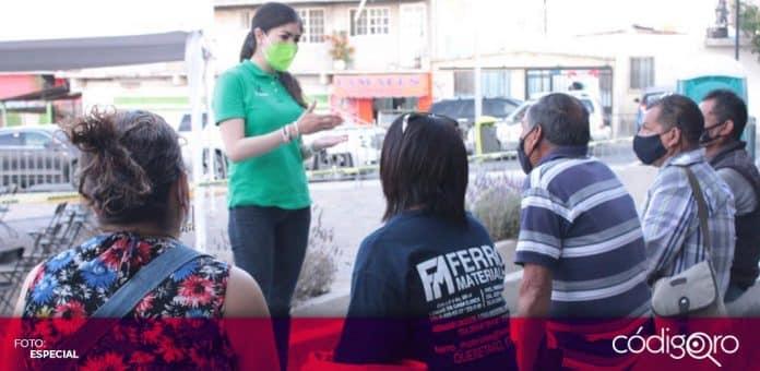 La candidata del PVEM a la gubernatura de Querétaro, Katia Reséndiz, pidió seguir respetando las medidas sanitarias. Foto: Especial