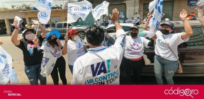 El candidato común del PAN y Querétaro Independiente a la presidencia municipal, Luis Bernardo Nava Guerrero, recorrió Jurica Pueblo. Foto: Especial
