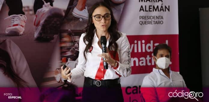 La candidata del PRI a la alcaldía capitalina, María Alemán, propuso construir mil kilómetros de banquetas y circuitos. Foto: Especial