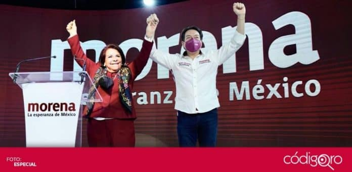 El líder nacional de Morena, Mario Delgado, acompañó a Celia Maya, candidata a la gubernatura de Querétaro, en su inicio de campaña. Foto: Especial