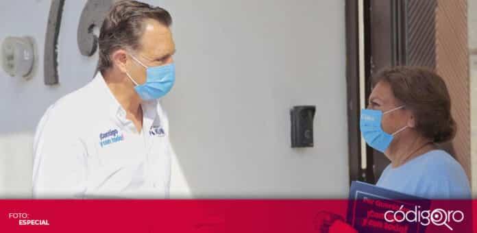 El candidato común del PAN y Querétaro Independiente, Mauricio Kuri, recorrió la colonia Cimatario. Foto: Especial