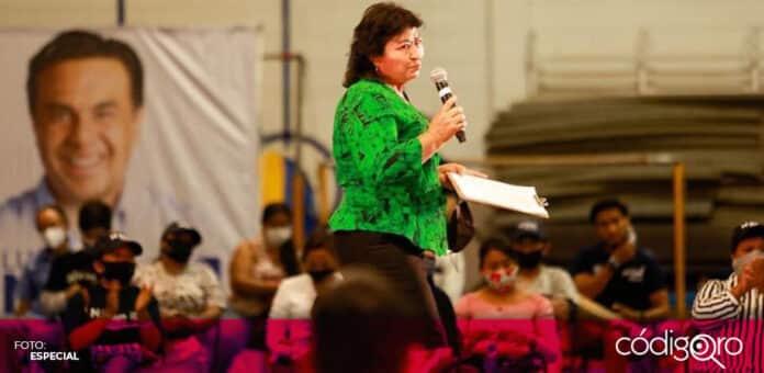 La regidora de Morena en el municipio de Querétaro, Pánfila Rosas, anunció su apoyo a Mauricio Kuri y Luis Bernardo Nava. Foto. Especial