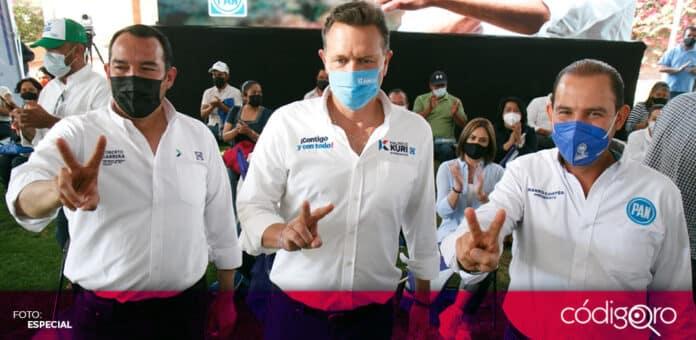 Junto a Mauricio Kuri y Marko Cortés, Roberto Cabrera inició su campaña electoral en San Juan del Río. Foto: Especial