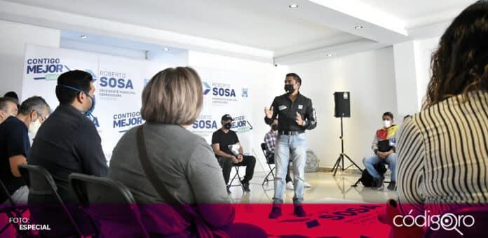 El candidato del PAN a la presidencia municipal de Corregidora, Roberto Sosa Pichardo, se reunió con deportistas. Foto: Especial