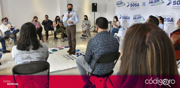 Roberto Sosa Pichardo, candidato del PAN a la presidencia municipal de Corregidora, se reunió con jóvenes. Foto: Especial