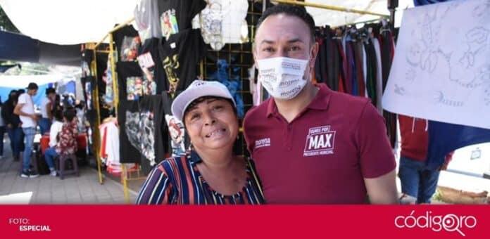 El candidato de Morena a la presidencia municipal de Querétaro, Arturo Maximiliano, recorrió el tianguis de Tlacote. Foto: Especial