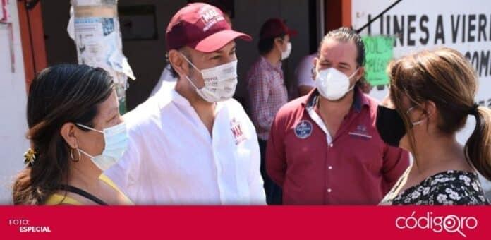 El candidato de Morena a la presidencia municipal de Querétaro, Arturo Maximiliano García Pérez, realizó un recorrido por la colonia Santa Ana. Foto: Especial