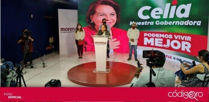 La candidata de Morena a la gubernatura del estado de Querétaro, Celia Maya García, realizó una conferencia de prensa. Foto: Especial