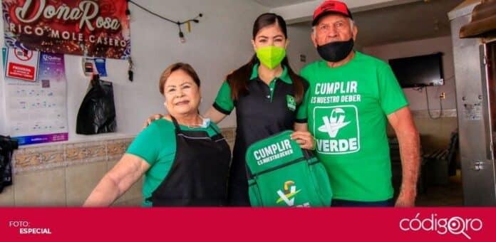 La candidata del PVEM a la gubernatura del estado de Querétaro, Katia Reséndiz Jaime, visitó Santa Rosa Jáuregui y San Juan del Río. Foto: Especial