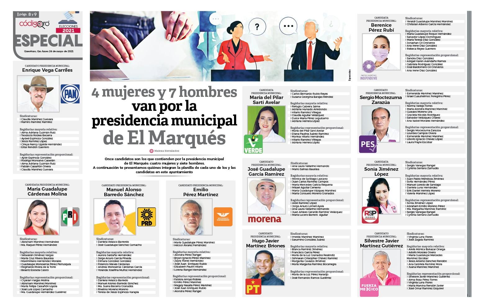 4 mujeres y 7 hombres van por la presidencia municipal de El Marqués