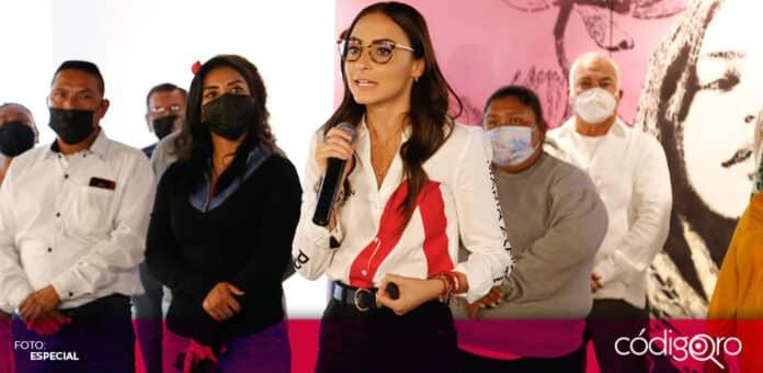 La candidata del PRI a la presidencia municipal de Querétaro, María Alemán, expuso su propuesta en materia de seguridad. Foto: Especial
