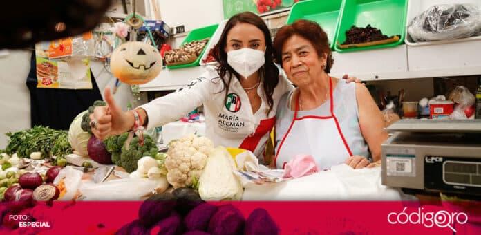 La candidata del PRI a la presidencia municipal de Querétaro, María Alemán, propuso la creación de una plataforma de proveedores locales. Foto: Especial