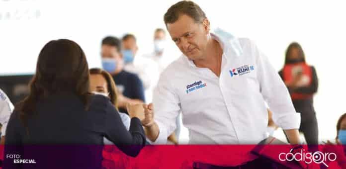 El candidato común del PAN y QI a la gubernatura, Mauricio Kuri González, planteó la creación de ley metropolitana. Foto: Especial