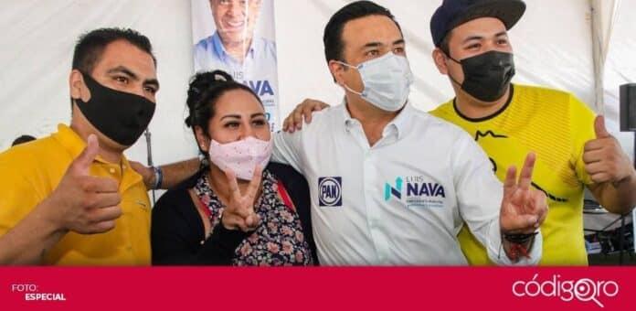 El candidato común del PAN y QI a la presidencia municipal, Luis Bernardo Nava Guerrero, propuso que el municipio pague el alumbrado en condominios. Foto: Especial