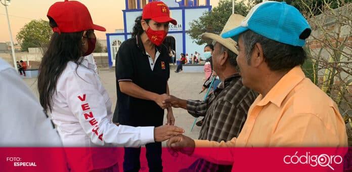La candidata del PT a la gubernatura de Querétaro, Penélope Ramírez, visitó el municipio de Ezequiel Montes. Foto: Especial