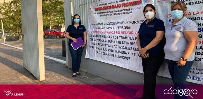 Trabajadores del ISSSTE demandaron uniformes e insumos para atención médica. Foto: Katia Lemus