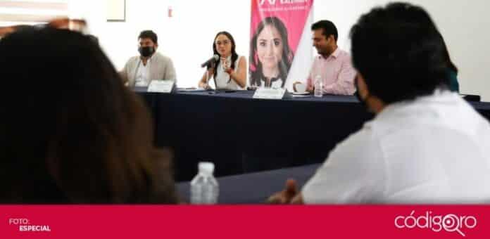 La candidata del PRI a la presidencia municipal de Querétaro, María Alemán, se reunió con los miembros de la Canaco. Foto: Especial