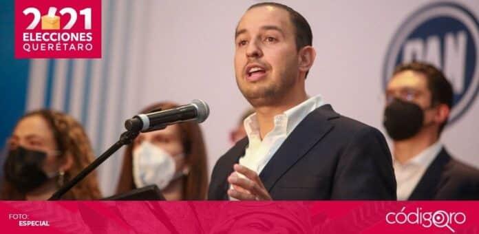 El líder nacional del PAN, Marko Cortés, felicitó al blanquiazul por los resultados electorales en el estado de Querétaro. Foto: Especial