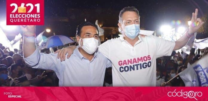El candidato común del PAN y QI a la gubernatura, Mauricio Kuri González, celebró su triunfo en el Jardín Guerrero. Foto: Especial