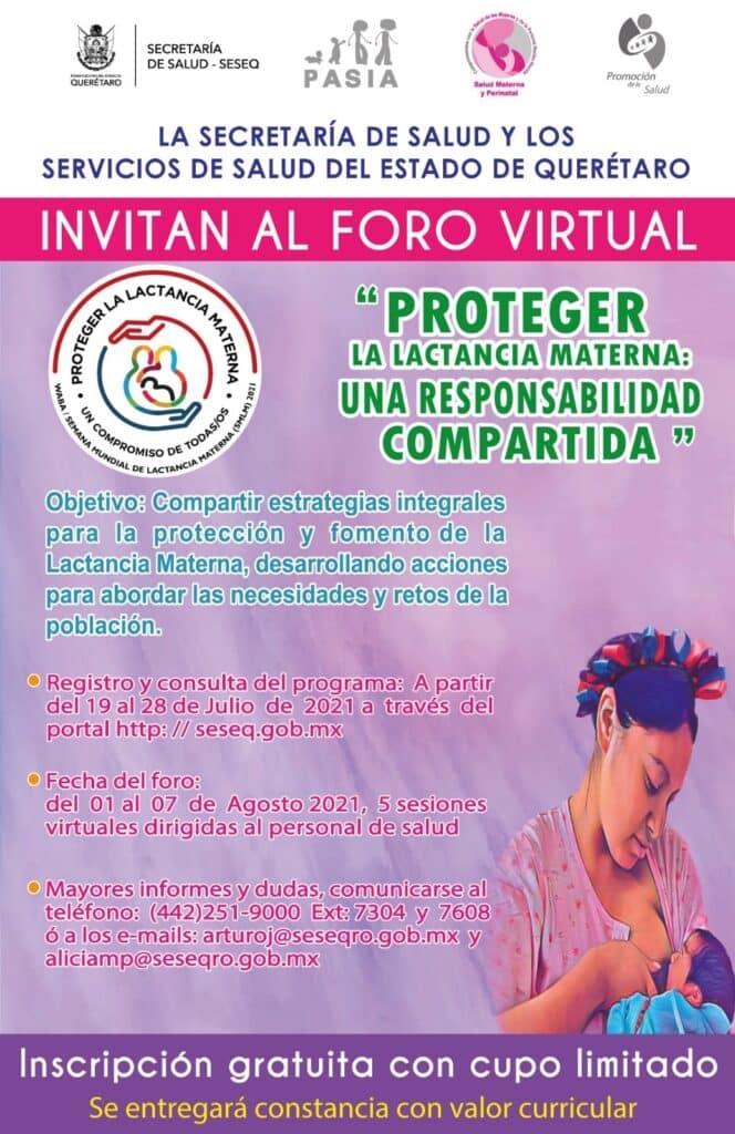 Anuncian foro virtual para celebrar la Semana Mundial de la Lactancia Materna