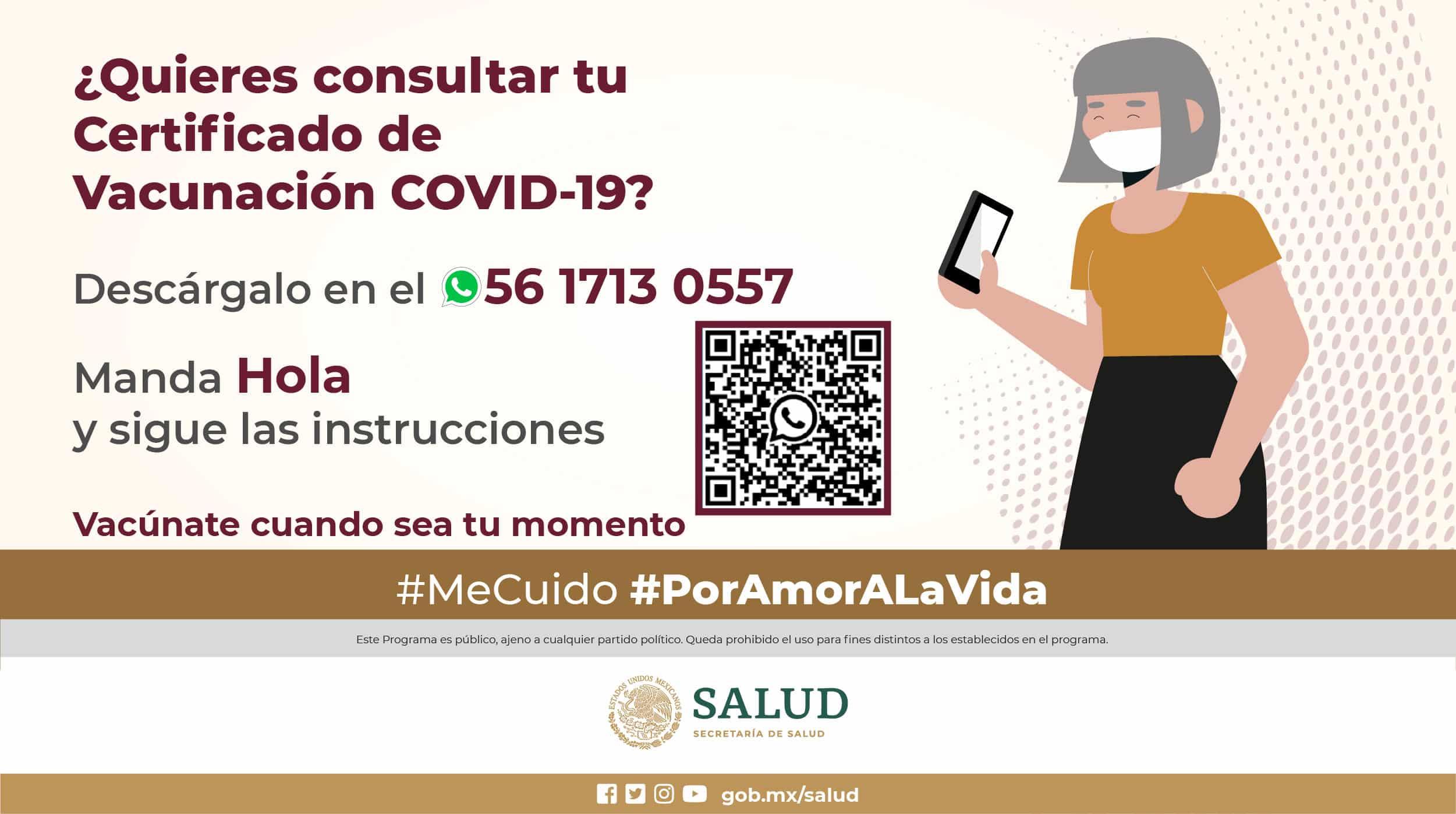 Obten tu certificado de vacunación contra Covid-19 por WhatsApp