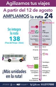 Ajuste de las rutas de transporte público 24 y 138. Foto: Especial