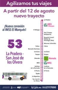 Modificación de la ruta 53 de transporte público. Foto: Especial