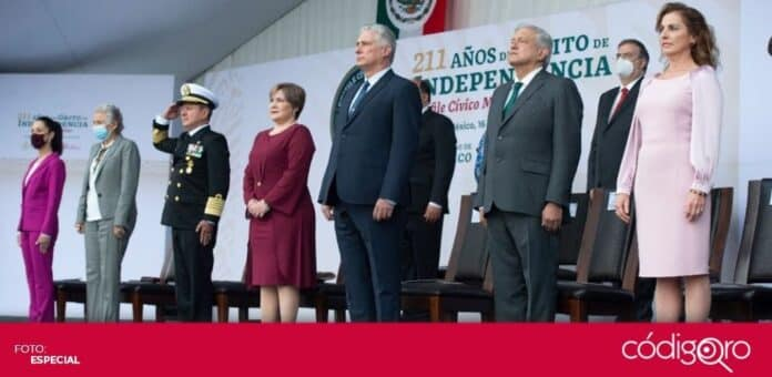 El presidente de Cuba, Miguel Díaz-Canel, es el invitado especial a la celebración de la Independencia Nacional de México. Foto: Especial