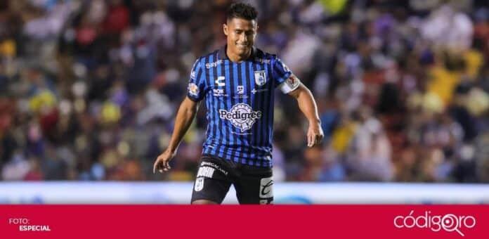 El mediocampista de los Gallos Blancos de Querétaro, Osvaldo Martínez, se perderá lo que resta del Torneo Apertura 2021. Foto: Mexsport